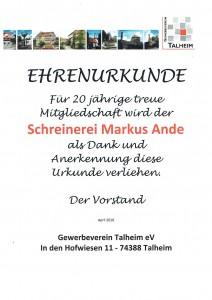 Gewerbeverein Talheim 20 Jahre