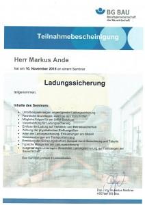Ladungssicherung Seminar 2016