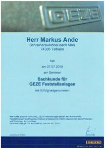 Sachkunde für GEZE Feststellanlagen 2010